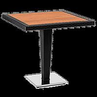 Стол Tilia Antares 80x80 см столешница ироко, база хромированная черный