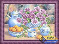 Схема для вышивки бисером - Кухонный натюрморт с сервизом, фиалками и абрикосами, Арт. НБч2-007