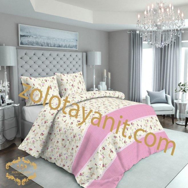 Комплект постельного белья из бязи Голд двуспальный Розовый купон
