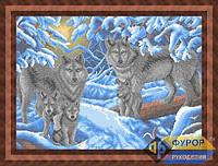 Схема для вышивки бисером - Семья волков в зимнем лесу , Арт. ЖБп2-008
