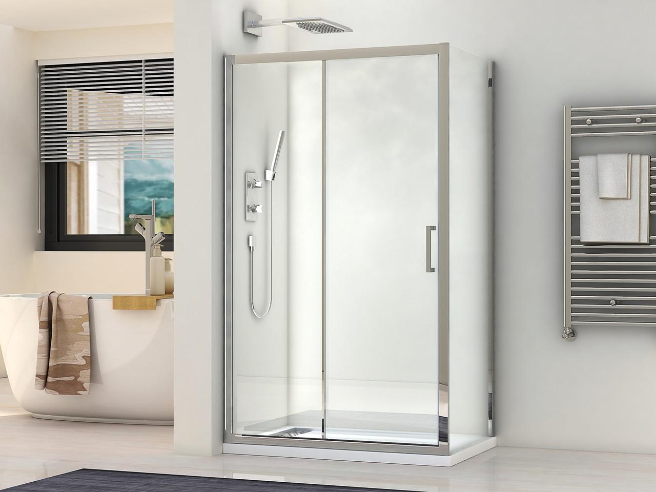 Кабіна прямокутна душова 1903810 80х100х190: скло прозоре / профіль хромований алюміній