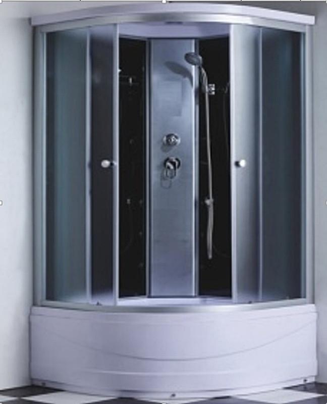 Кабіна гідродушова 6607-1 100х100х215: скло фабрік / заднє чорне / профіль сатиновий + піддон 41 см.