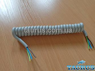 Кабель спиральный серый Gray для электроприборов с заземлением. Длина от 20 до 140 см. Медь. 3х0.75; до 2200W