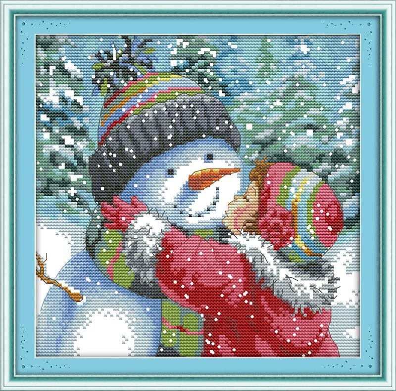 Поцелуй снеговика R608 Набор для вышивки крестом канва 14СТ
