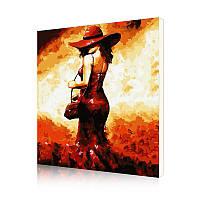 """Картина по номерам Lesko DIY PH9391 """"Женщина в красной шляпе"""" 40-50см набор для творчества живопись"""