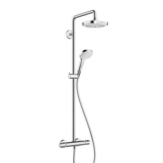 Душова система Croma E Showerpipe Select 180 2jet Showerpipe з термостатом білий хромований (27256400)
