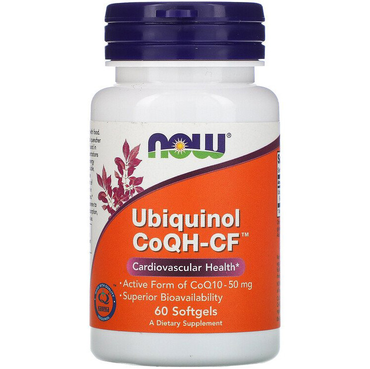 "Убихинол NOW Foods ""Ubiquinol CoQH-CF"" активная форма CoQ10, 50 мг (60 гелевых капсул)"
