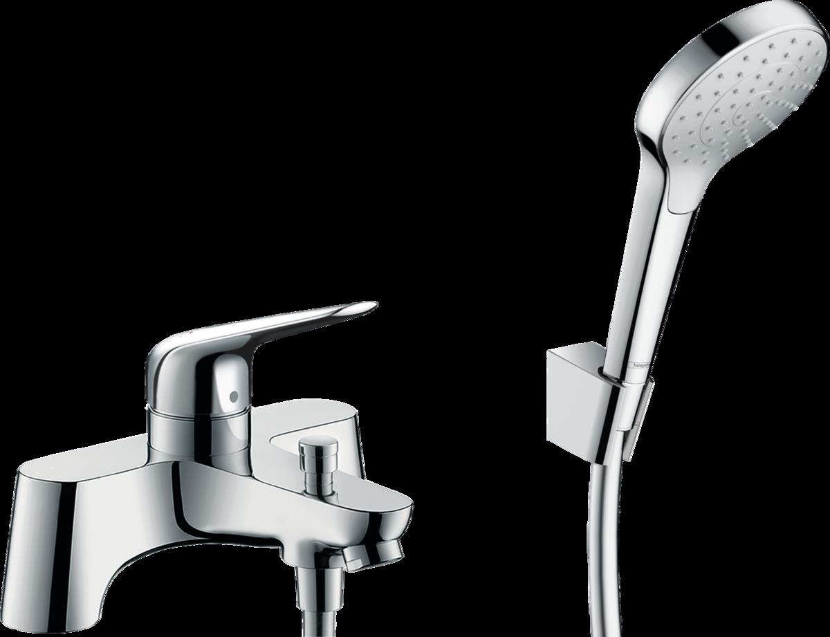 Змішувач Novus врізний на край ванни 2 відчини + комплект душової лійки Croma Select (71044000)