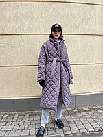 Женское стеганое пальто на силиконе 200 свободного кроя под пояс 42-46,48-52 бежевый, чёрный,отправка 3-5 дней