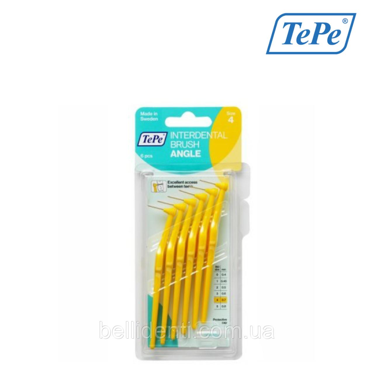Межзубная щетка TePe Angle угловая, желтый (0,7 мм), 6 шт