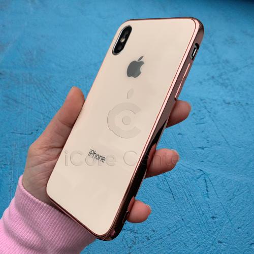 Чехол для iPhone Xs Max Glass Case Logo Розовое Золото
