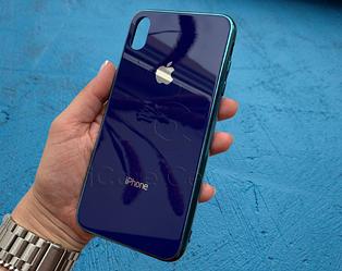 Чехол для iPhone Xs Max Glass Case Logo Синий