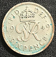 Монета Великобритании 6 пенсов 1949 г., фото 1