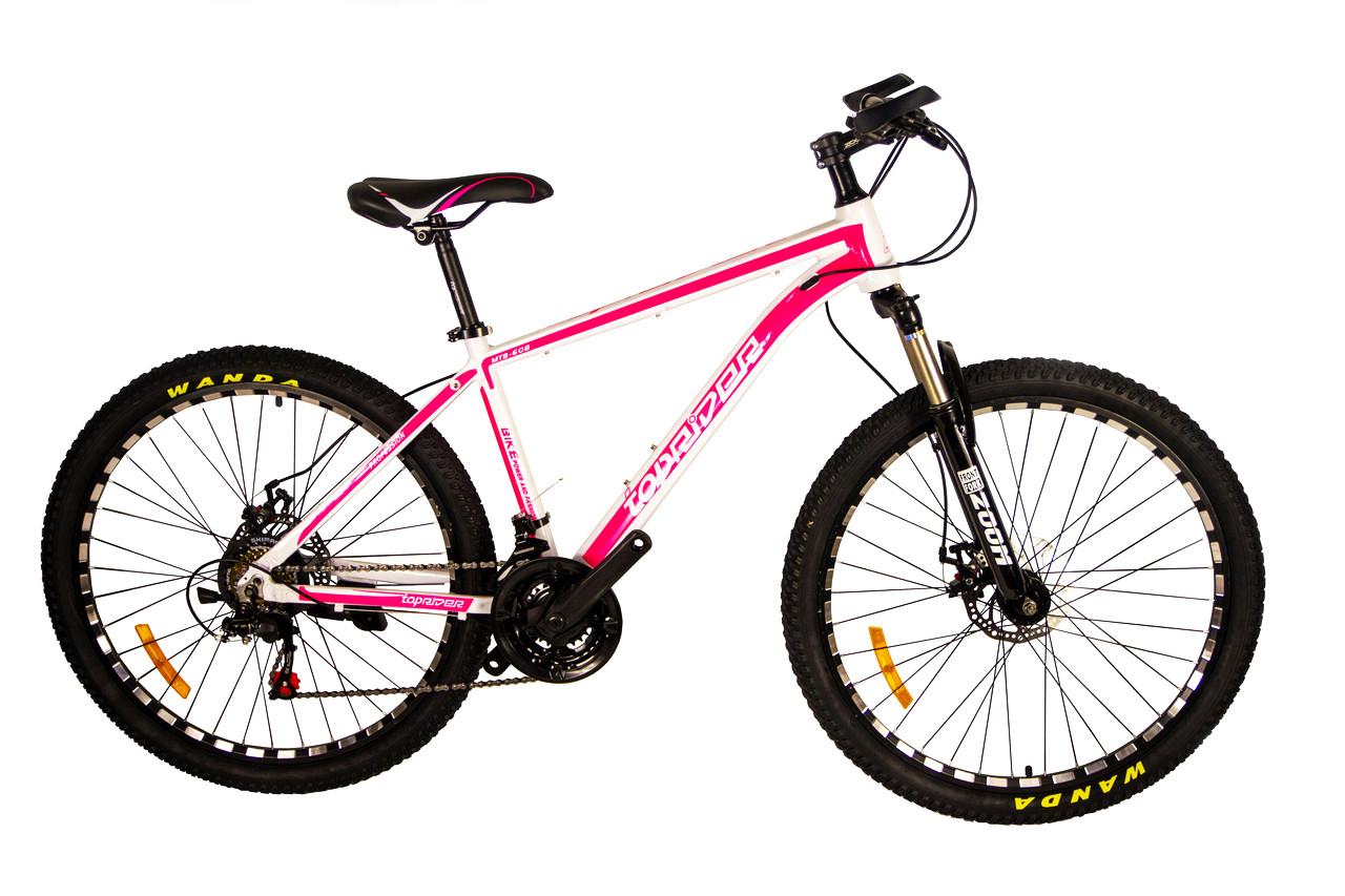 """Горный велосипед TopRider 680 26"""" алюминиевый с дисковыми тормозами, Бело-розовый"""
