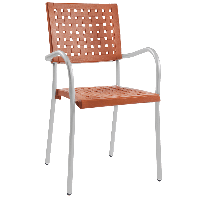 Кресло Papatya Karea оранжевое, база алюминий