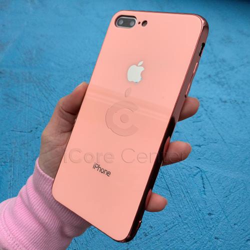 Чохол для iPhone 7 Plus / 8 Plus Glass Case Logo Рожевий