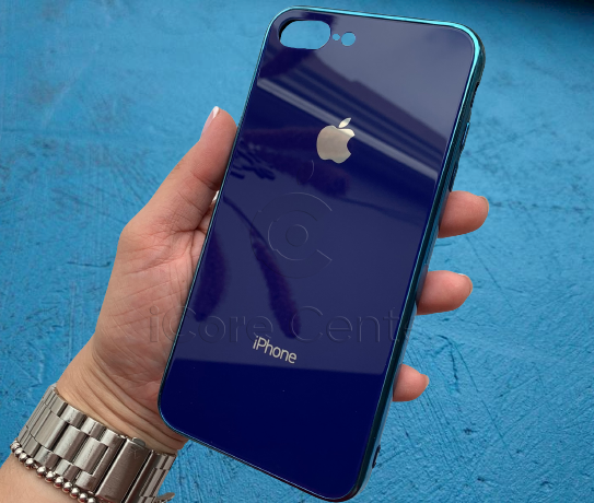 Чехол для iPhone 7 Plus / 8 Plus Glass Case Logo Синий