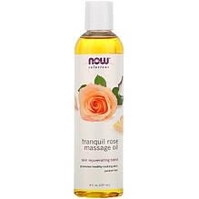 """Массажное масло с розой NOW Foods """"Tranquil Rose Massage Oil"""" расслабляющее (237 мл)"""