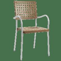 Кресло Papatya Karea тик, база алюминий