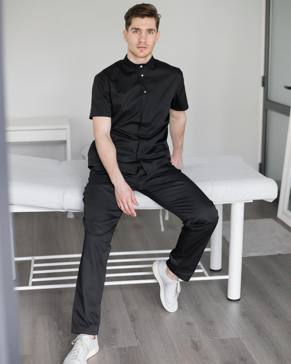 Мужской медицинский костюм Бостон черный