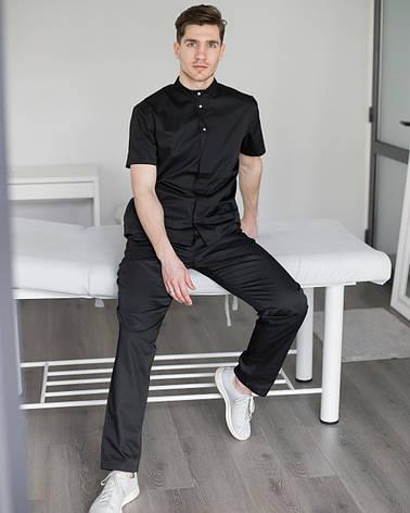 Мужской медицинский костюм Бостон черный, фото 2