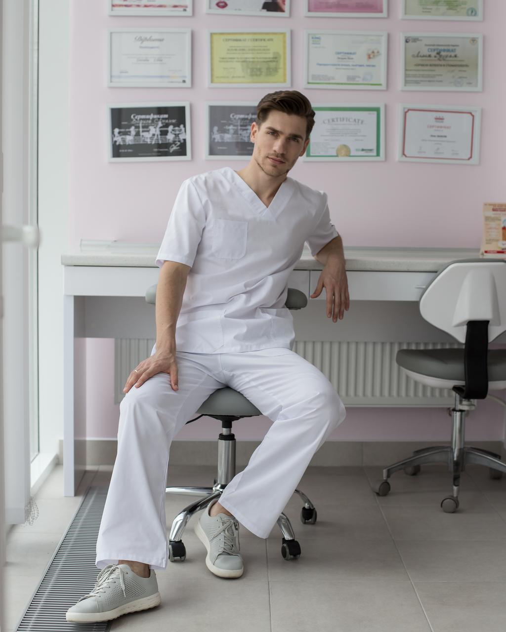 Медицинский костюм мужской Гранит белый