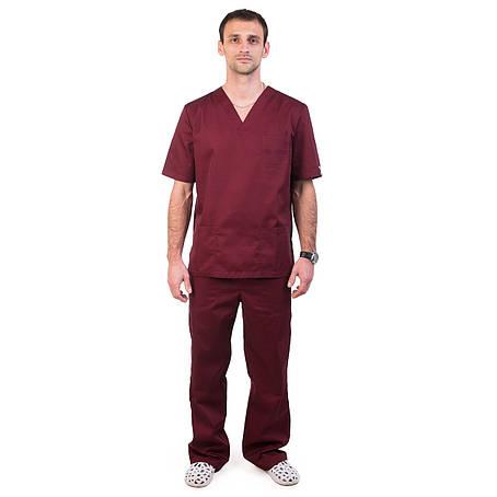 Медицинский мужской костюм Гранит марсала, фото 2