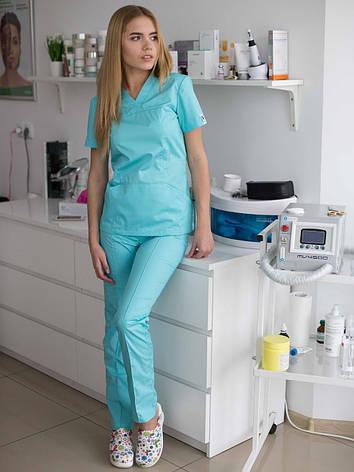 Медицинский женский костюм Топаз мятный, фото 2