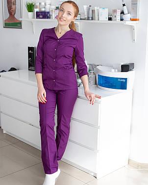 Медицинский женский костюм Лотос фиолетовый, фото 2