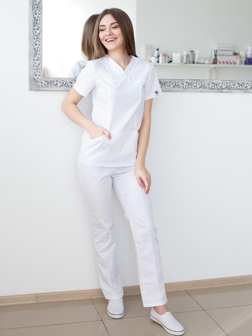 Медицинский женский костюм Топаз белый