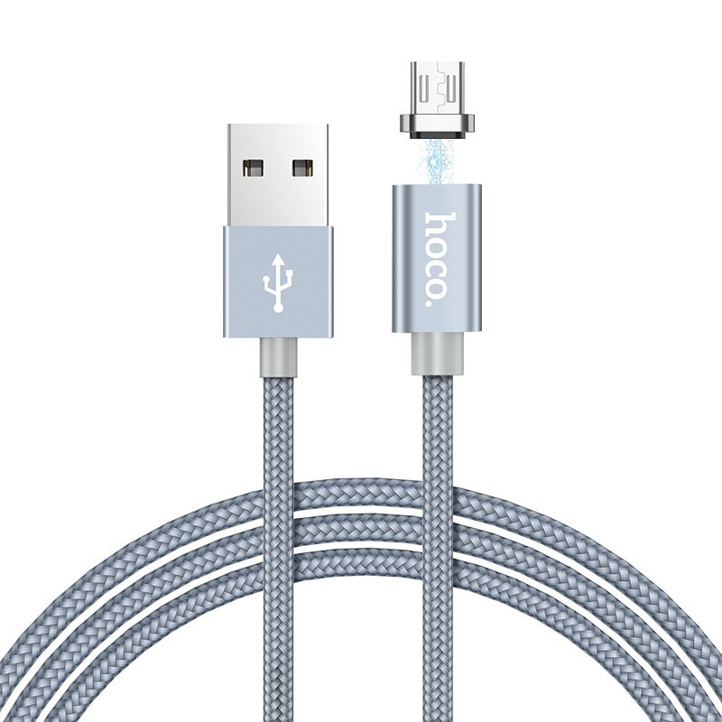 Магнітний кабель Hoco U40A magnetic adsorption charged MicroUSB 1m Metal Gray