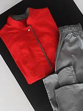 Медицинский женский костюм Сакура красный-серый, фото 3