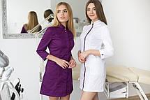 Медицинский халат Сакура белый-фиолетовый, фото 2
