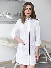 Медицинский халат Сакура белый-фиолетовый, фото 3