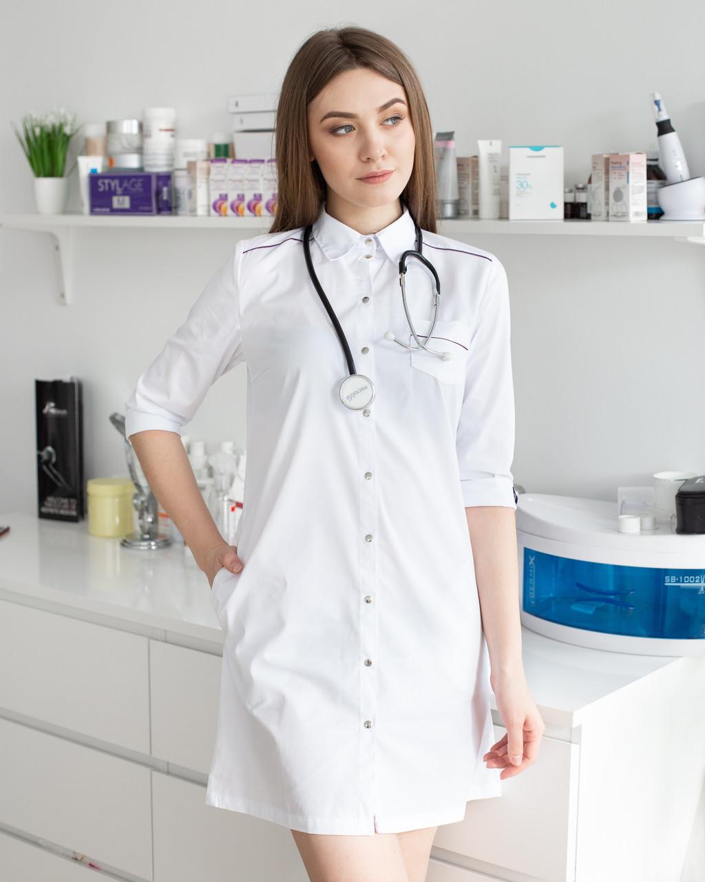 Медицинский женский халат Манхэттэн белый-фиолетовый