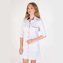 Медицинский женский халат Манхэттэн белый-фиолетовый, фото 3