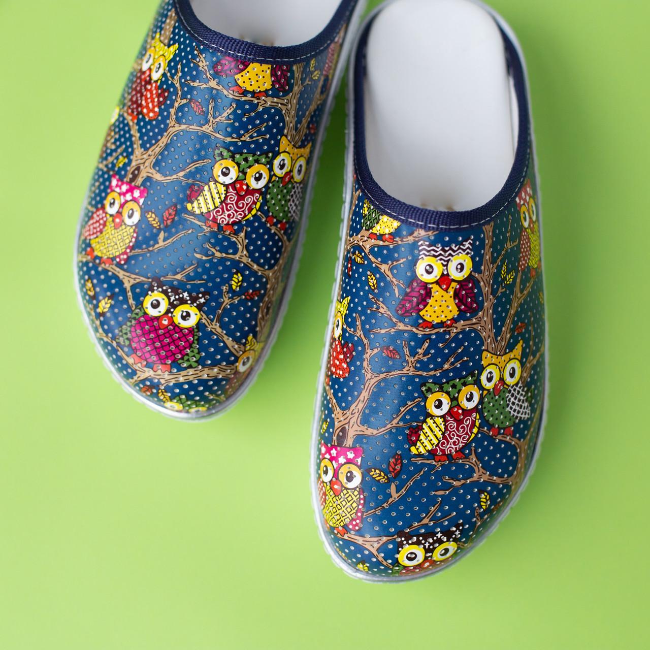 Медицинская обувь сабо совы синие