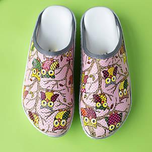 Медицинская обувь сабо совы розовые, фото 2