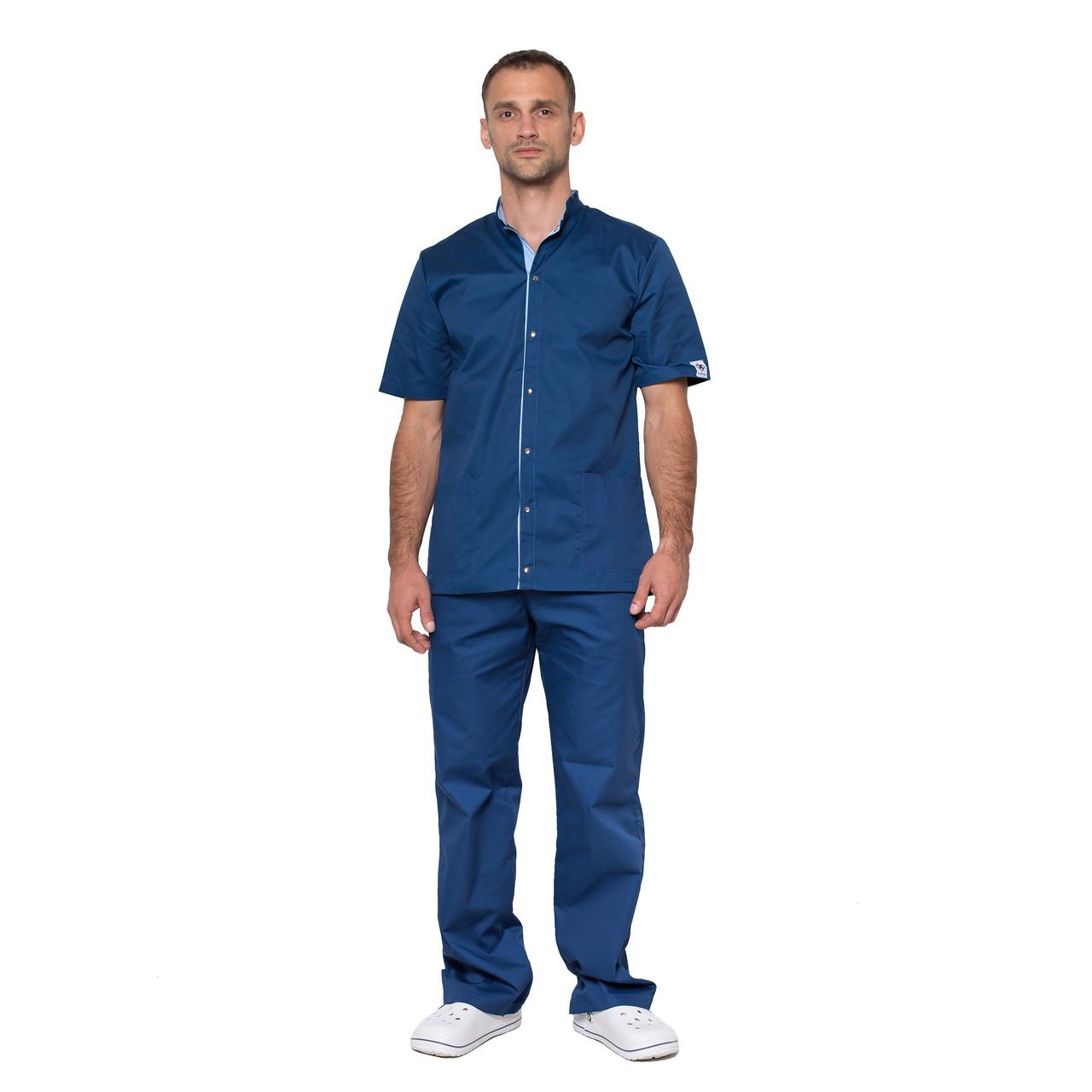 Медицинский костюм мужской Лондон синий-голубой