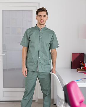 Медицинский костюм мужской Лондон оливка-серый 46, 48, фото 2