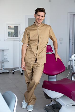 Медицинский костюм мужской Лондон песок-шоколад, фото 2