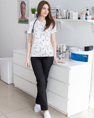 Медицинский женский костюм Топаз принт фламинго черные, фото 2