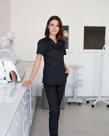 Медицинский женский костюм Топаз черный, фото 2