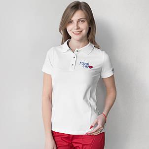 """Женское медицинское поло белое с вышивкой """"Medicinе"""", фото 2"""