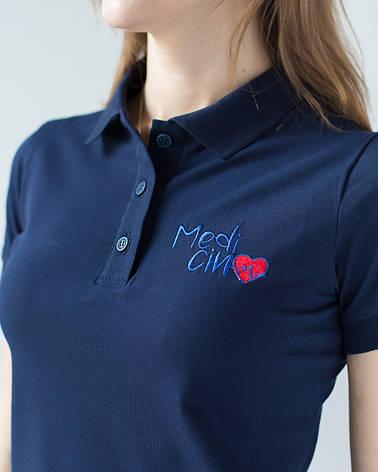 """Женское медицинское поло синее с вышивкой """"Medicinе"""", фото 2"""