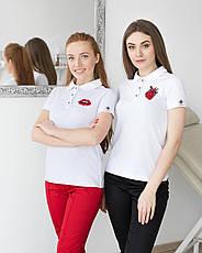 """Женское медицинское поло белое с вышивкой """"Сердце"""", фото 3"""