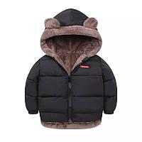Куртка детская зимняя двусторонняя с ушками, капюшоном, черная размер 90