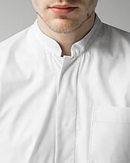 Медицинский мужской халат Амстердам белый-серый, фото 2