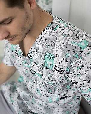 Медицинский мужской костюм Гранит принт коты серые, фото 2
