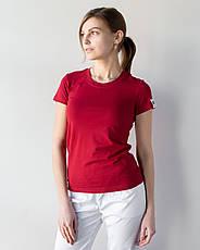 Женская медицинская футболка, бордо, фото 3